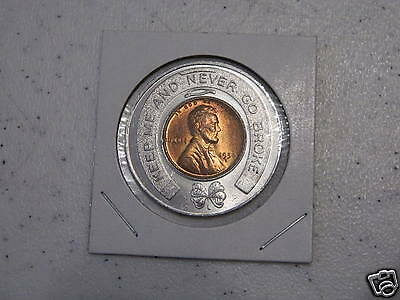 """encased 1950 D US one cent Coin LUCKY keep me + never go broke """"Citizens Bank"""""""