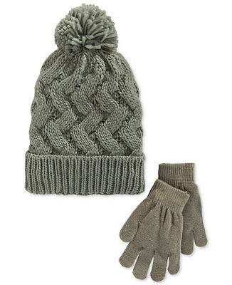 Berkshire Fashions Girls Knit Pom Hat   Glove Set Child Cap Gray Ages 4-8 7e44a524213a