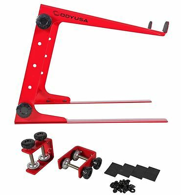 Odyssey LSTAND RED Red Adjustable DJ Laptop Stand +Case/Table Clamps L-Stand
