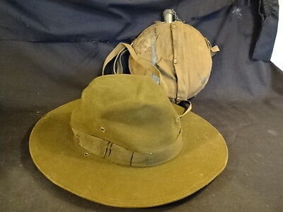 Old Vtg Boy Scouts Of America Official Hat And Canteen LOT