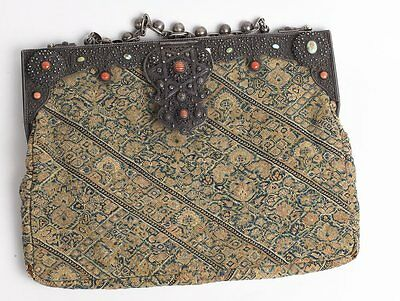 19th century Persian, Qajar Islamic Embroidered Purse with silver.