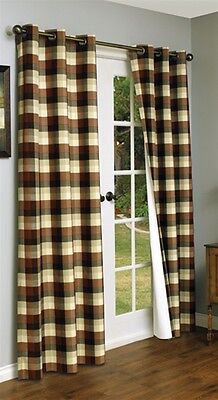 """Mansfield Plaid Terra Cotta Thermalogic Energy Insulated Grommet 84"""" Panel Pair"""