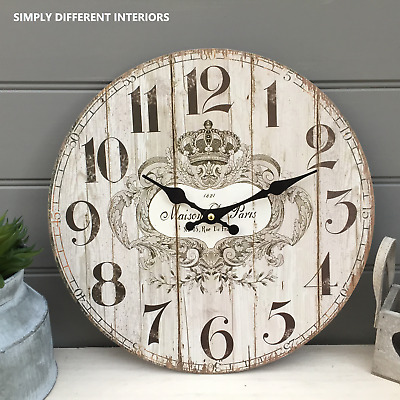 French Style Shabby Vintage Chic Wooden Wall Clock MAISON DE PARIS