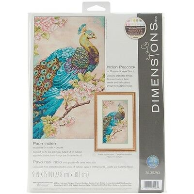 Indian Peacock 9 x 15 Counted Cross Stitch Kit