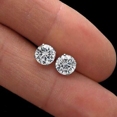 2ct. Round Cut Diamond Earrings Manmade Brilliant Solitaire Studs 14k White Gold