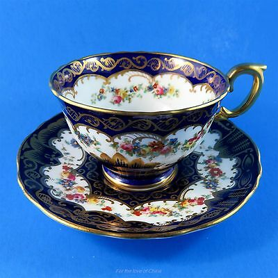 Gorgeous Cobalt and Floral Crown Staffordshire Teacup and Saucer Set