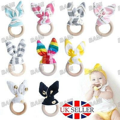 Baby Natural Wooden Cute Teething Ring Chewie Teether Bunny Sensory Gift Toy UK*
