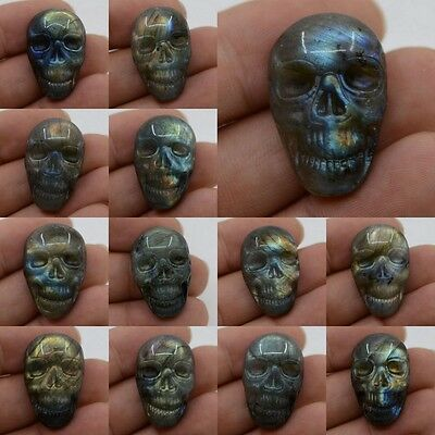 29-30mm Carved natural stone labradorite skull cab cabochon *each one picture*