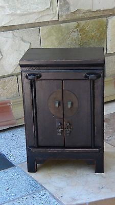 Antique Chinese Wood Carved Jewelry,Apothecary 2 Door Cabinet W/Drawer& 2 Shelve