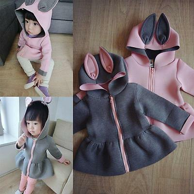 Kids Baby Girls Rabbit Ear Hoodie Long Sleeve Hooded Coat Jacket Outerwear 2-7Y