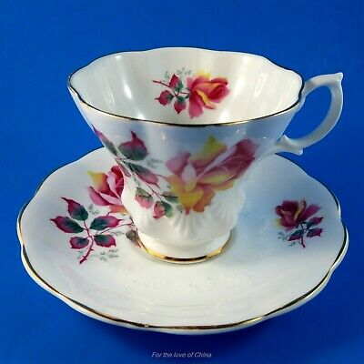 Pink Rose English Castle Staffordshire Tapered Teacup and Saucer Set