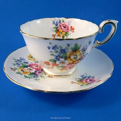 Colorful Spring Bouquet Crown Staffordshire Teacup and Saucer Set