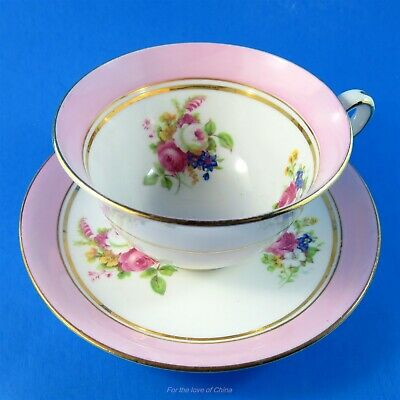 Light Pink Border with Florals Staffordshire House Teacup and Saucer Set