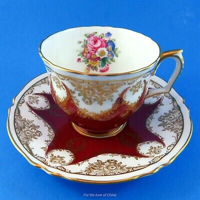 Painted Floral Bouquet with Deep Red Crown Staffordshire Teacup and Saucer Set
