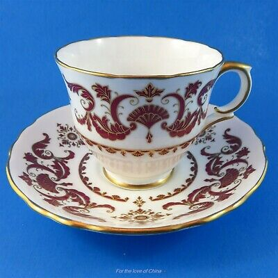 Deep Red Design Berkeley Square Crown Staffordshire Teacup and Saucer Set