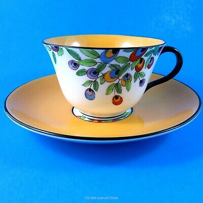 Painted Florals with Deep Yellow Center Crown Staffordshire Teacup & Saucer Set