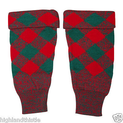 HIGHLAND THISTLE Hose Top / Kilt Hoses Tops, Red Green, Top Quality, Small