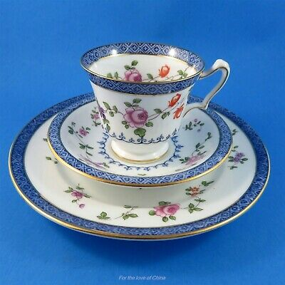 Crown Staffordshire Florals & Blue Demitasse Trio