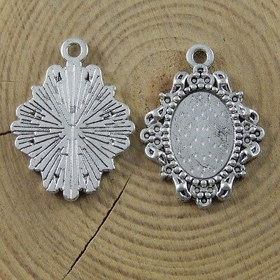 26*20*2mm Antiqued Silver Alloy Ellipse Necklace Cameo Base Pendant Jewelry 40x