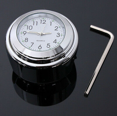 White Motorcycle Handlebar Mount Clock Accessory Chrome Alloy 22/25mm Waterproof