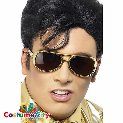 Adults Gold Elvis Presley Sunglasses Fancy Dress Party Costume Accessory
