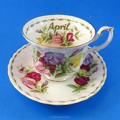 Royal Albert Flower of the Month April Sweet Pea Teacup and Saucer Set