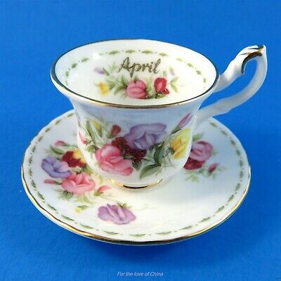 Royal Albert Flower of the Month April Sweet Pea Teacup and Saucer Miniature