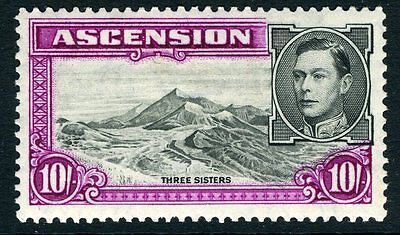 ASCENSION-1944 10/- Black & Bright Purple Perf 13 Sg 47a MOUNTED MINT V12067