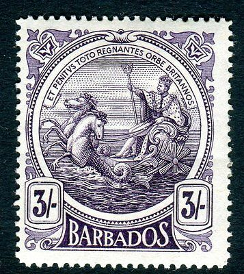 BARBADOS-1916-9 3/- Deep Violet.  A mounted mint example Sg 191