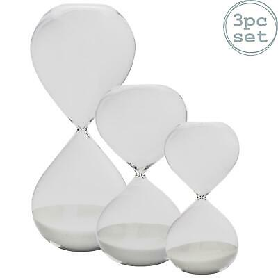 15, 30, & 60 Minutes Hourglass Glass Sand Clock Kitchen Timers - Set of 3