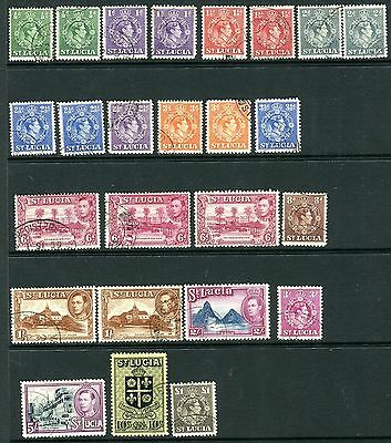 ST LUCIA-1938-48  A fine used set to £1 including all perf varieties Sg 128-141