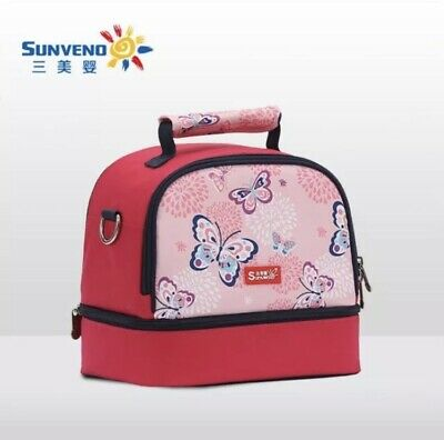 Kids Insulated Lunch Bag Cooler Baby Milk Warmer Picnic Bag Dinosaur Butterfly