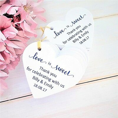 Personalised Heart Wedding Favour Tags Love is Sweet, Ivory Cream, White, Kraft