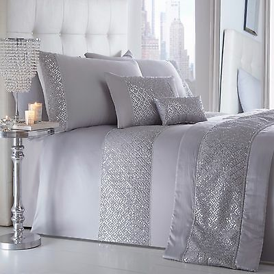 Shimmer Silver Duvet Quilt Cover Set Luxury Quilted Sequin Sparkle Diamante Grey