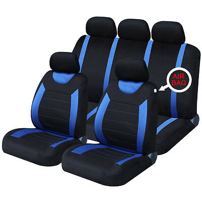 Universal Fit Black and Blue Car Seat Covers Front Rear Seat Protection Set
