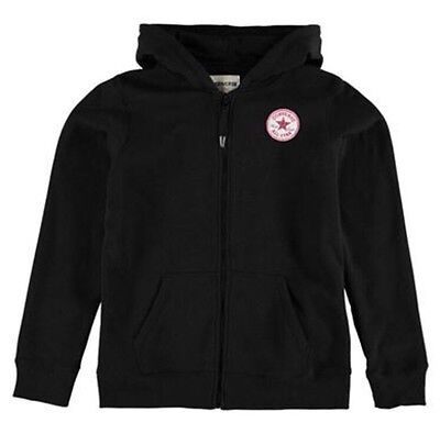 Converse Girls Fleece Full Zip Hoody Black 5-6 Years