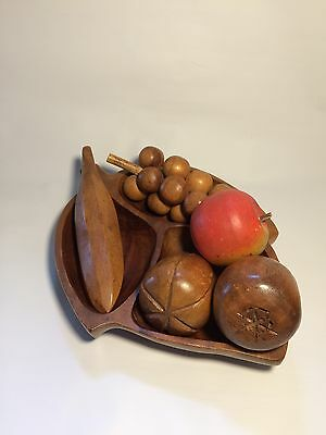 MCM Wooden Fruit/Vegetables and Bowl, 5 Piece Set.