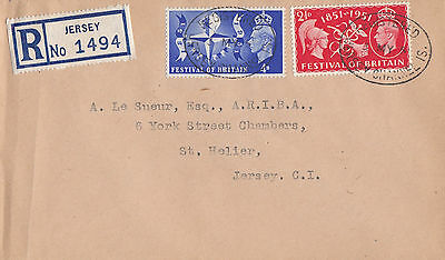 GB :1951 Festival of Britain registered plain FDC-JERSEY cancel