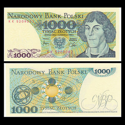 1982 Poland 1000 Zloty Bank Note-Communist Era-Uncirculated 16-200