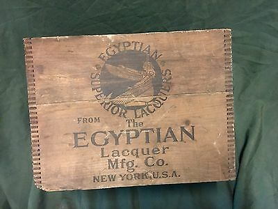 Rare Dovetail Egyptian Lacquer  Wooden Box