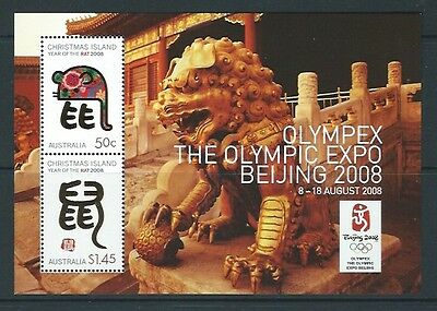 Christmas Island 2008 Year Of The Rat Beijing 2008 Olympex Miniature Sheet