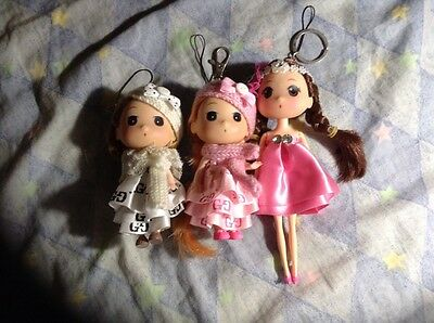 3 Mini Doll With Keychains