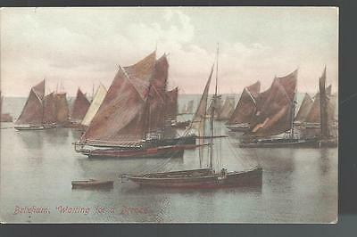c1909 Waiting for a Breeze Brixham Harbor Brixham Devon England UK  Postcard