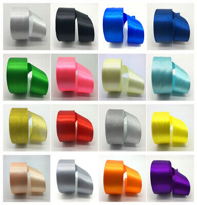 "New 5 Yards 50mm 2"" Satin Ribbon Multi-Purposes Craft Wedding Party Pick Colors"