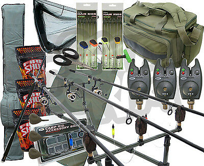 Deluxe Carp Fishing Set up With 3x Rods Reels Alarms Tackle Carryall Rod holdall
