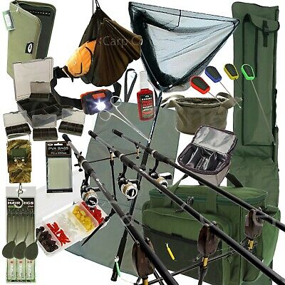 Deluxe Full Carp Fishing Set With 3 Rods Reels Alarms Luggage Tackle Brolly Bait