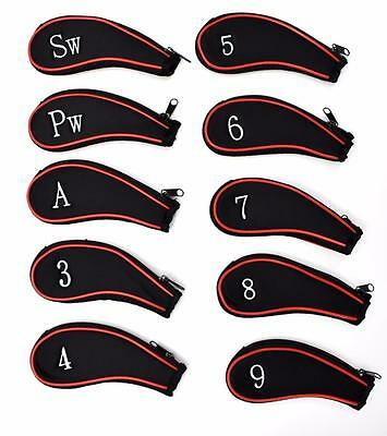 Set Of 10 x Padded Zip Up Neoprene Iron & Wedge Head Golf Club Protective Covers