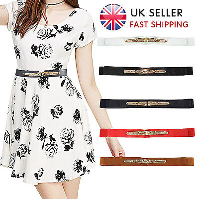 UK Women Waist Belt Leather Thin Stretch Fashion Ladies Skinny Elastic Waistband