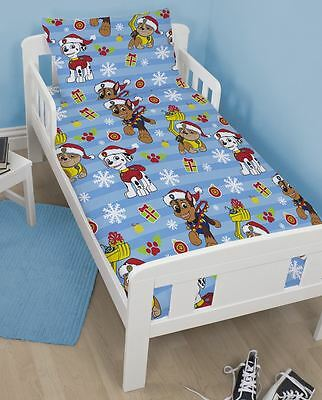 Paw Patrol Christmas Xmas Duvet Cover Quilt Cover Bedding for Kids Junior Bed