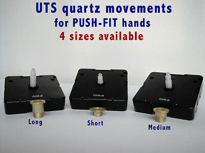 UTS Quartz clock movement mechanism, ROUND HANDS' SHAFTS, for PUSH-FIT HANDS